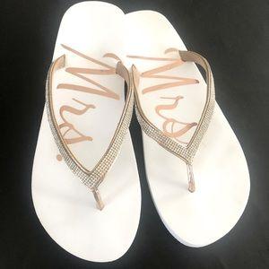 "Rhinestone ""Mrs."" Flip Flops"